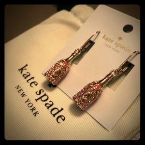 NWT Kate Spade Champagne bottle earrings